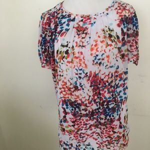 Liz Claiborne Colorful Print Top Blouse L